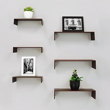 nexxt – Tablettes murales Extense FN18833-1IC, 3 pièces 14 x 4 x 3 (po) et 3 pièces 10 x 4 x 2 (po), espresso, paq./6