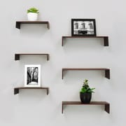 """nexxt FN18838-1IC Extense Wall Shelves, 3-Piece 14"""" x 4"""" x 3"""" and 3-Piece 10"""" x 4"""" x 2"""", Espresso, 6/Pack"""