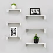"""nexxt FN18839-8IC Extense Wall Shelves, 3-Piece 14"""" x 4"""" x 3"""" and 3-Piece 10"""" x 4"""" x 2"""", White, 6/Pack"""