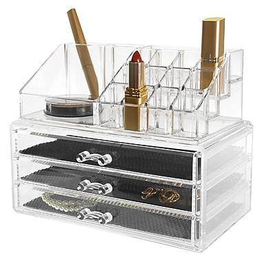 Kiera Grace – Ensemble de 2 range-tout pour bijoux et cosmétiques HO87548-1INT, 16 compartiments et 3 tiroirs