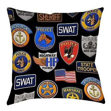 Manual Woodworkers & Weavers Police Patches Printed Throw Pillow; 14'' H x 14'' W x 3'' D
