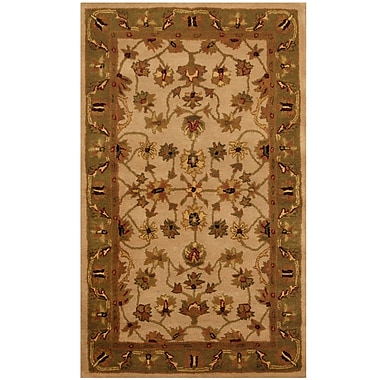 Herat Oriental Ivory/ Green Area Rug; Rectangle 3'3'' x 5'3''