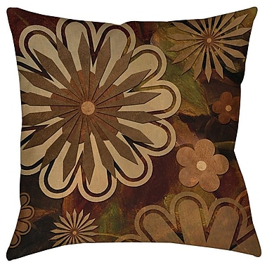 Manual Woodworkers & Weavers Floral Abstract I Indoor/Outdoor Throw Pillow; 16'' H x 16'' W x 4'' D