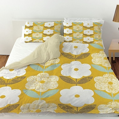 Manual Woodworkers & Weavers Jar of Sunshine Vintage Blossoms Duvet Cover; Queen