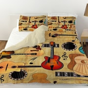 Manual Woodworkers & Weavers Guitar Collage Cream Duvet Cover; Twin