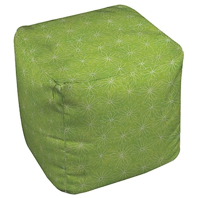Manual Woodworkers & Weavers Funky Florals Daisy Sketch Ottoman; Lime WYF078277254510