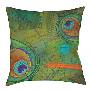 Manual Woodworkers & Weavers Peacock Pattern 2 Printed Throw Pillow; 18'' H x 18'' W x 5'' D
