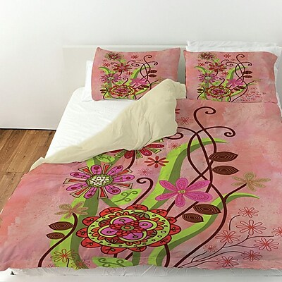 Manual Woodworkers & Weavers Flower Power Stems Duvet Cover; Queen