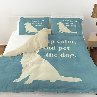 Manual Woodworkers & Weavers Keep Calm and Pet the Dog Duvet Cover; Twin