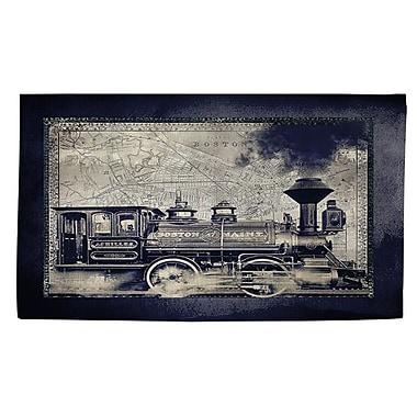 Manual Woodworkers & Weavers Railway Beantown Blue/Grey Area Rug; 4' x 6'