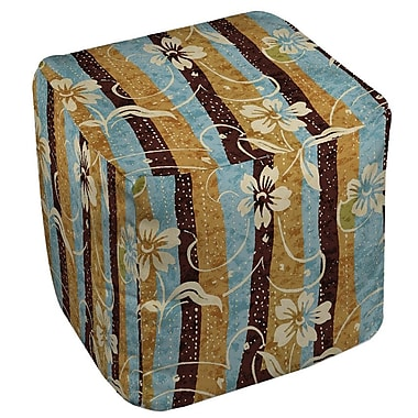 Manual Woodworkers & Weavers Floral Study in Stripes Ottoman