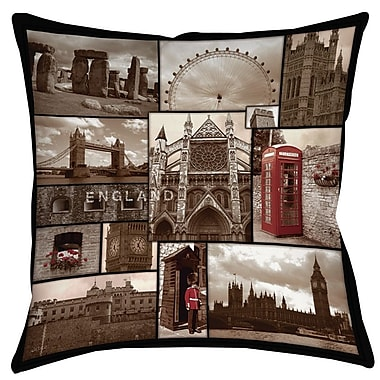 Manual Woodworkers & Weavers England Printed Throw Pillow; 26'' H x 26'' W x 7'' D