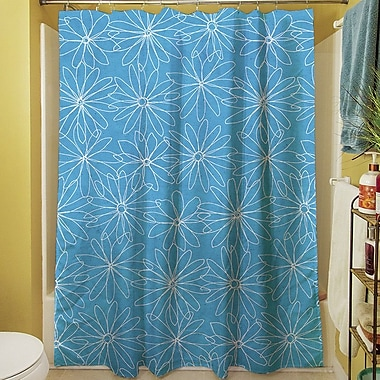 Manual Woodworkers & Weavers Funky Florals Daisy Sketch Shower Curtain; Aqua