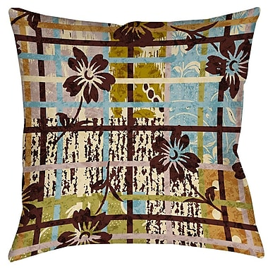 Manual Woodworkers & Weavers Floral Study in Plaid Printed Throw Pillow; 14'' H x 14'' W x 3'' D