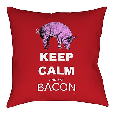 Manual Woodworkers & Weavers Keep Calm and Eat Bacon Printed Throw Pillow; 14'' H x 14'' W x 3'' D