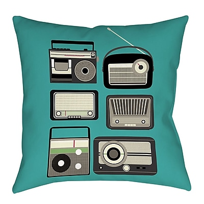 Manual Woodworkers & Weavers Radios Printed Throw Pillow; 26'' H x 26'' W x 7'' D