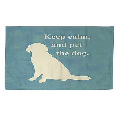 Manual Woodworkers & Weavers Keep Calm and Pet the Dog Teal Area Rug; 4' x 6'