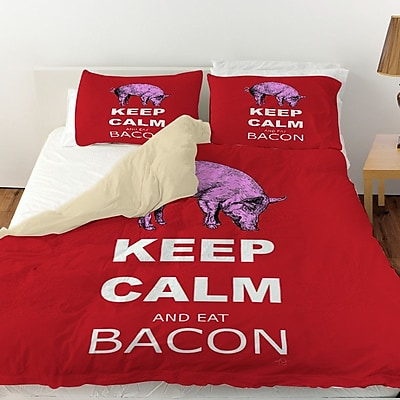 Manual Woodworkers & Weavers Keep Calm and Eat Bacon Duvet Cover; Twin