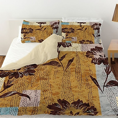Manual Woodworkers & Weavers Floral Study in Blocks Duvet Cover; King