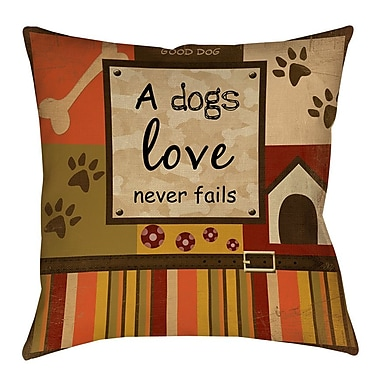 Manual Woodworkers & Weavers Love Never Fails Indoor/Outdoor Throw Pillow; 16'' H x 16'' W x 4'' D