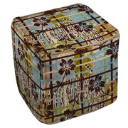 Manual Woodworkers & Weavers Floral Study in Plaid Ottoman