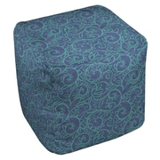 Manual Woodworkers & Weavers Funky Florals Swirl Pattern Ottoman; Blue