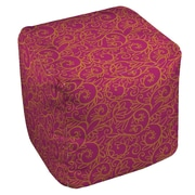 Manual Woodworkers & Weavers Funky Florals Swirl Pattern Ottoman; Pink