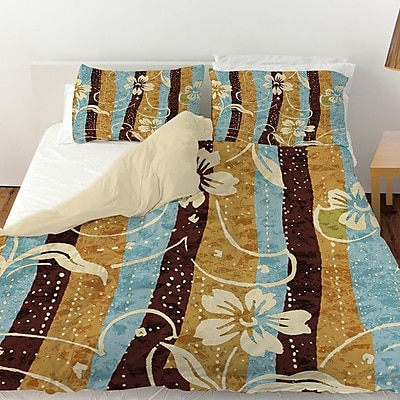 Manual Woodworkers & Weavers Floral Study in Stripes Duvet Cover; Twin