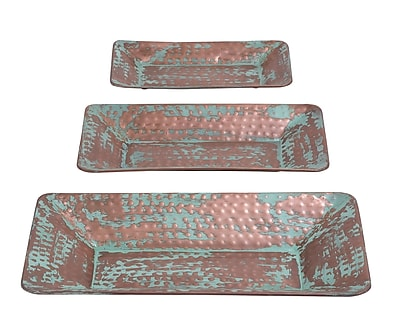 ABCHomeCollection 3 Piece Antique Copper Tray Set
