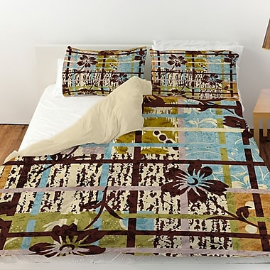 Manual Woodworkers & Weavers Floral Study in Plaid Duvet Cover; King