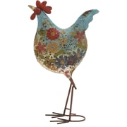 ABCHomeCollection Farmhouse Painted Distressed Floral Rooster Statue