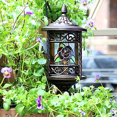 River of Goods Regal Rose Stained Glass Outdoor 10-Light LED Pier Mount Light