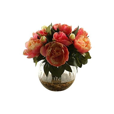 D & W Silks Peonies in Glass Ball; Pink