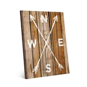 Click Wall Art Direction Arrows on Light Wood Textual Art on Plaque; 20'' H x 16'' W x 1.5'' D