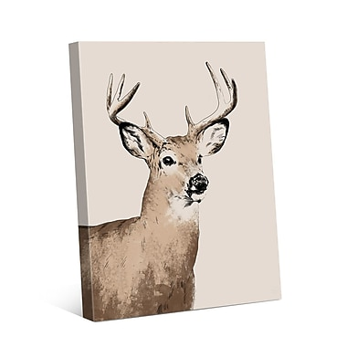 Click Wall Art Buck Illustration Graphic Art on Wrapped Canvas; 20'' H x 16'' W x 1.5'' D
