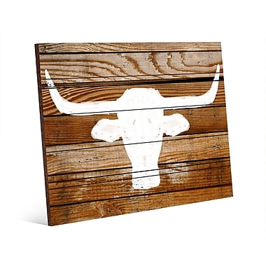 Click Wall Art Longhorn on Wood Graphic Art on Plaque; 16'' H x 20'' W x 1.5'' D
