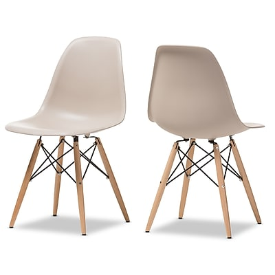 Wholesale Interiors Baxton Studio Pascal Shell Solid Wood Dining Chair (Set of 2); Beige