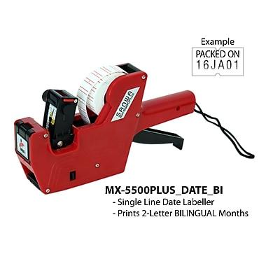 Motex – Pistolet étiqueteur 5500 à 2 lettres pour date en mois, bilingue, rouge (38-1109-6BI)