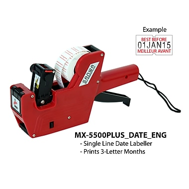 Motex 5500 3-Letter Month Date Labeller English, Red (38-1109-7ENG)