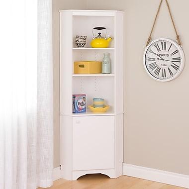Elite Tall 1-Door Corner Storage Cabinet, White