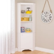 Elite Tall 1-Door Corner Storage Cabinet, White