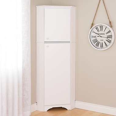 Elite Tall 2-Door Corner Storage Cabinet, White