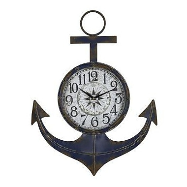 Cooper Classics Anchor Metal Wall Decor Clock With Rust Accents And Under Glass Face (COOP922)