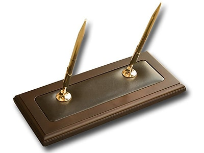 Dacasso Wood & Leather Double Pen Stand (DCSS003)