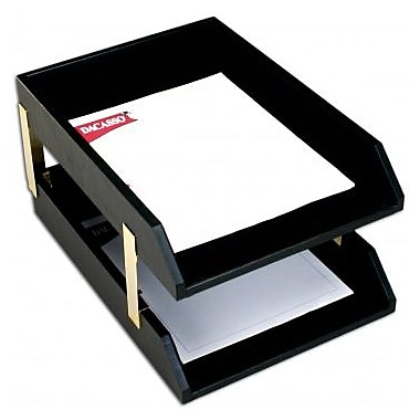 Dacasso Leather Double Legal Trays with Gold Posts - Classic Black (DCSS372)