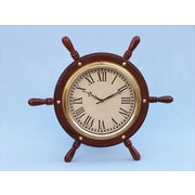 Handcrafted Model Ships  Solid Wood & Brass Ship Wheel Clock 15 in. Decorative Accent (HDFM109)