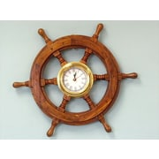 Handcrafted Model Ships  Deluxe Class Wood And Brass Ship Wheel Clock 18 in. Ship Wheels Decorative Accent (HDFM1818)
