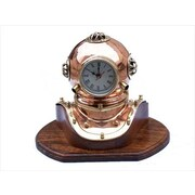 Handcrafted Model Ships  Copper Divers Helmet Clock 12 in. Nautical Accents Decorative Accent (HDFM1965)