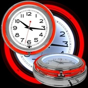 14 Inch Double Ring Neon Clock Red Outer & White Inner Ring (TC99-1099RD)