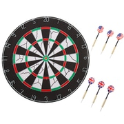 Hey! Play! 18 inch Double-Sided Flocking Dartboard with Six 17g Darts (886511975385)
